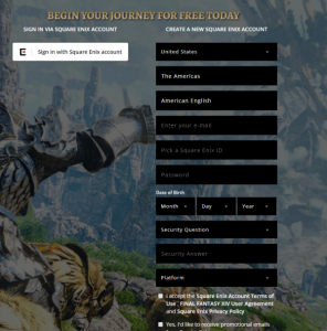 inal Fantasy XIV-fill the sign up form