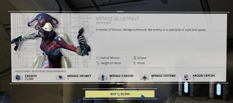 Warframe Mirage blueprint