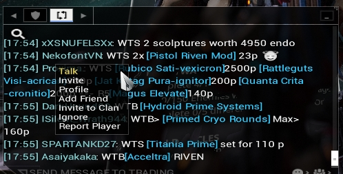 warframe chat commands